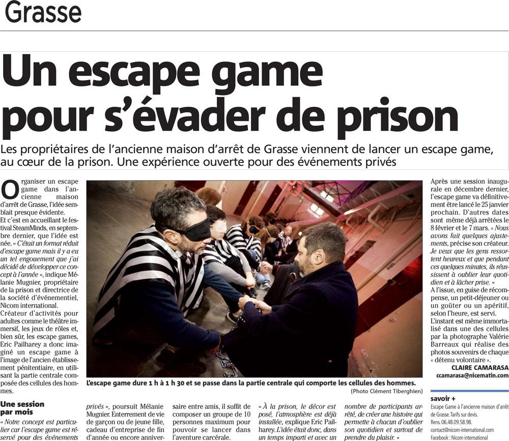 Escape Game – Parution Dans Nice Matin